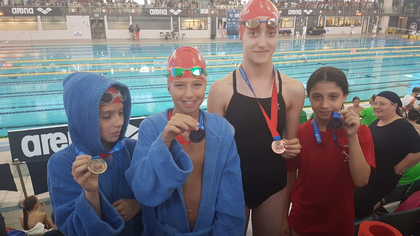 שחייני גבעתיים הצעירים בתום התחרות, צילום: העמותה לקידום הספורט בגבעתיים