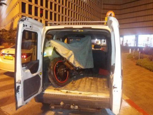 האופנוע הגנוב. צילום: דוברות המשטרה
