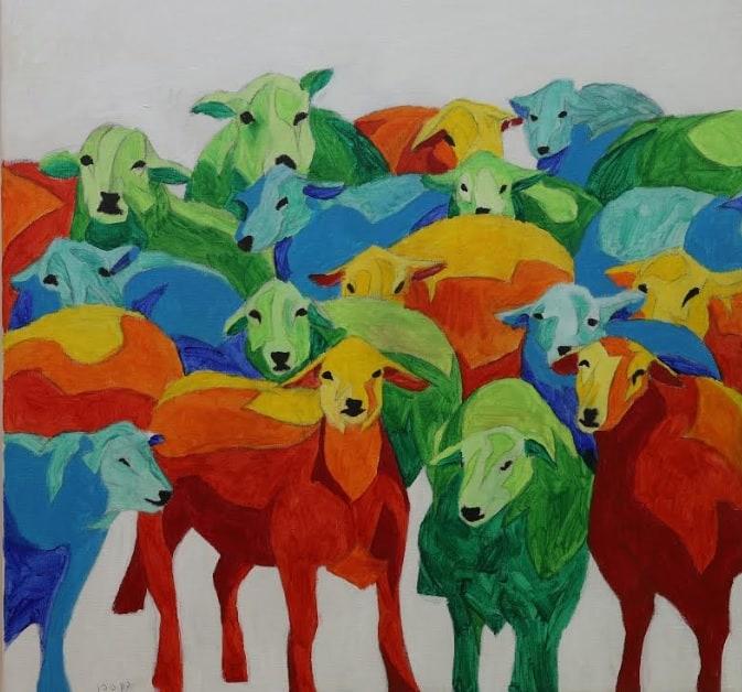 כבשים שציירו תלמידי תלמה ילין