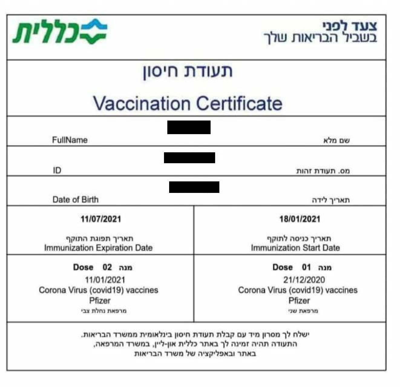 """תעודת חיסון (צילום: דוברות כללית מחוז דן-פ""""ת)"""