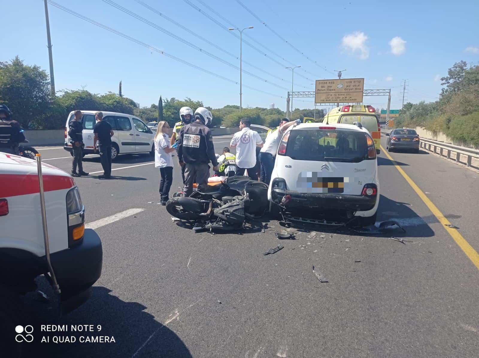 תאונת אופנוע -הרוכב נפצע בינוני ליד מחלף אלוף שדה. צילום דוברות איחוד הצלה